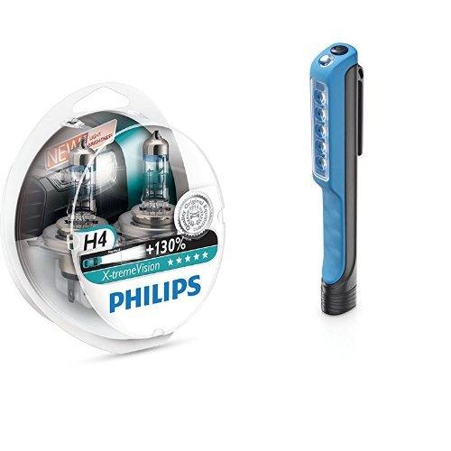 Preisvergleich Produktbild Philips X-tremeVision +130% 12342XV+S2 Scheinwerferlampe, H4, 2er-Set + Philips LPL18B1 LED-Arbeitsleuchte Penlight