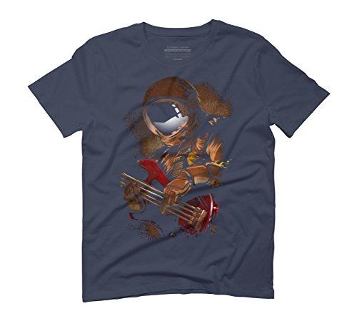 astronaut vs MUSIC vs BASS Men's Graphic T-Shirt - Design By Humans Navy