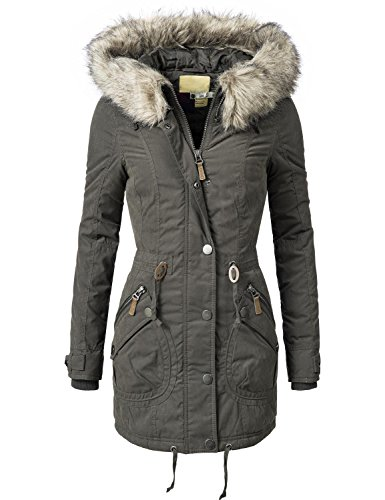 Peak Time Damen Mantel Wintermantel Winterparka L61223 Grau Gr. M (Winter Parka)