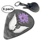 Purple Daisy Flower Angel Wings Purple Gray Unique Guitar Gift for Bass Electric Acoustic Guitars Includes.96mm
