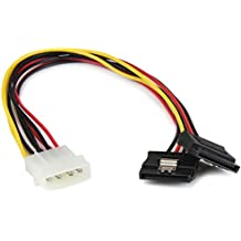 StarTech.com Adattatore Splitter Cavo di Alimentazione Y LP4 a 2 SATA Latching da 30 cm, Molex 4 Pin a Dual SATA, Nero