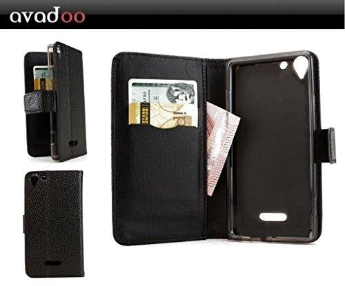 avadoo® Archos Wiko Selfy 4G Flip Case Cover Tasche Schwarz mit Magnetverschluss und Dualnaht als Cover Tasche Hülle