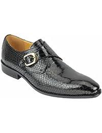 pour Homme en Cuir véritable Effet Peau de Crocodile Rouge Bleu Moine  Chaussures Slip on Smart 1f0a57e159db