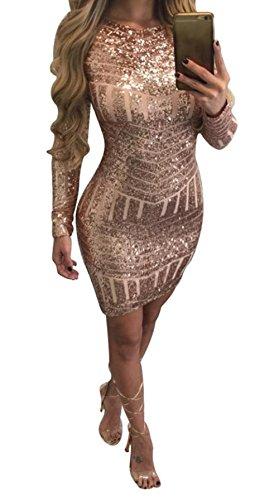 Damen Kleider, GJKK Damen Elegantes Paillettenkleid Langarm O-Ausschnitt Backless Enges Kleid...