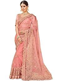 Aarti Apparels Women's Designer Net Saree_LALPARI-1001_Pink