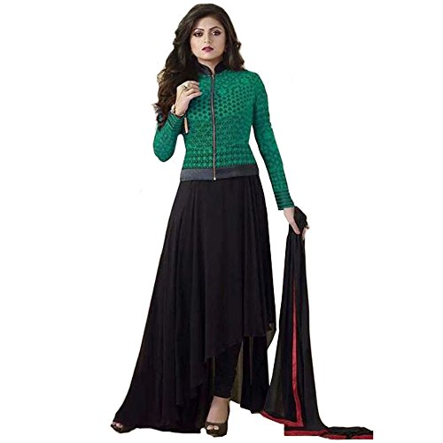 Bollywood Drashti Dhami Georgette and Net Party Wear Anarkali Suit In Green and Black Colour  available at amazon for Rs.1174