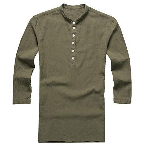 Amoyl Männer Baggy Baumwolle Leinen 3/4 Ärmel Knopf Retro V Ausschnitt T Shirts Tops Bluse Bauer Patchwork