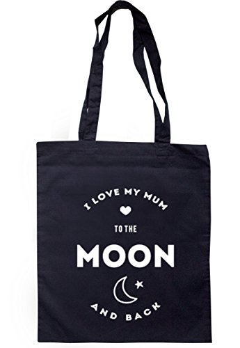 breadandbutterthreads i love my mum to the Moon and Back Borsa 37,5 cm x 42 cm con manici lunghi Navy