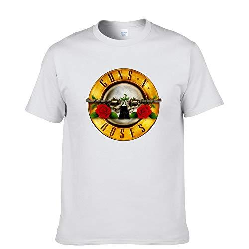 JJZHY Rock Guns N \'Roses Kurzarm T-Shirt Herren GNR Band Lässige Baumwolle Kurzes T-Shirt,Weiß,L