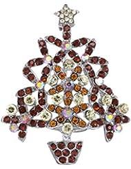 * Reino Unido * Marrón Rhinestone flor árbol de Navidad broche Pin secreto Santa regalo disfraz de Eve joyas Secret Santa