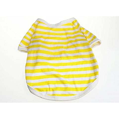 Junsi Yellow XL Small Dog Cat Pet Puppy Stripe Vest Polo T Shirt Camisa Summer Clothes Apparel