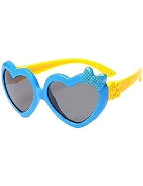 BOZEVON Gafas de Sol para Unisexo Niños Niñas Moda Flexible Rubber Forma de Corazón Polarizadas Gafas