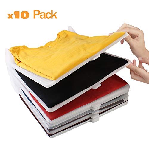 Koarbi Organizador de Camisetas, Ropa, Armario. Resistente y 100% reciclable. Antihumedad y Antiarrugas. Organiza Camisas, cajoneras, estanterías, armarios. Pack de 10