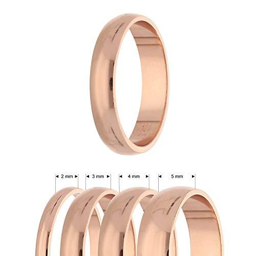 Ring - 925 Silber - Glänzend - 4 Breiten - Rosegold [03.] - Breite: 2mm - Ringgröße: 51