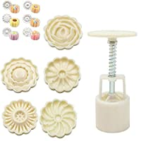 3D Rose Flowers Mooncake Cookie Mold Cutter Pastry DIY Baking Tool 1 Barrel+6 Stamps Set Hand Pressure Cake Mould
