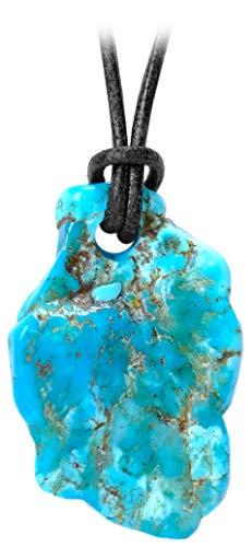 Idea regalo kaltner–collana in pelle per uomo e donna con ciondolo a forma di frei dal gemma turchese naturale (Ø 20mm)