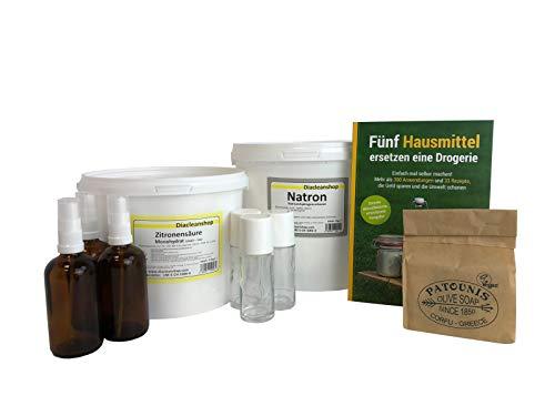 Hausmittel Set - mit vielen Anwendungen und Rezepten rund um das Thema Reinigen & Putzen, Wäsche, Körperpflege, Gesundheit, Haushalt und Garten.