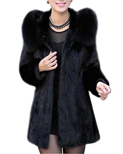 Damen Faux Pelz Mantel Kunstpelz Flauschiges Outwear Parka Jacke Mit Kapuze Schwarz S -