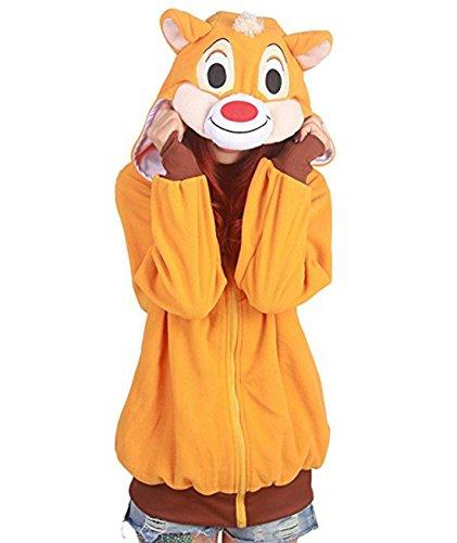 Casa Unisex Hoodies Cartoon Jacke Pyjama Tieroutfit Seitentaschen Reißverschluss Mit Kapuze Tier Sweatshirt Halloween Cosplay Kostüm Eichhörnchen XL