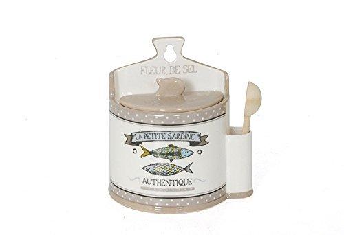 eur de Sel Keramik Salz Box Sardine mit maritimen Design ()