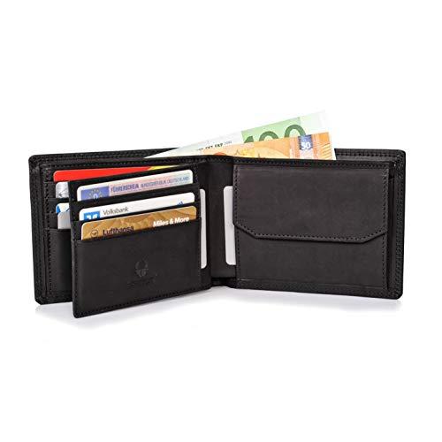 Donbolso Zürich Geldbörse Leder Herren - Geldbeutel schwarz - Portemonnaie für Männer mit RFID Schutz - Echtleder Portmonee - Geldbeutel Leder Schwarz