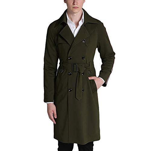 MERRYHE Herren Classic Zweireiher Trenchcoat Casual Lange Jacken Slim Fit Military Mantel Revers Oberbekleidung Mit Gürtel,Green-2XL(Bust/116cm)