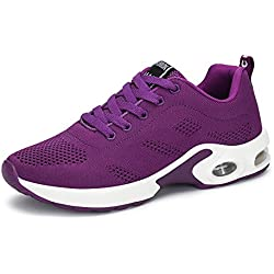 Zapatillas Deportivas de Mujer Air Cordones Zapatillas de Running Fitness Sneakers 4cm Negro Rojo Rosado Púrpura Púrpura 37