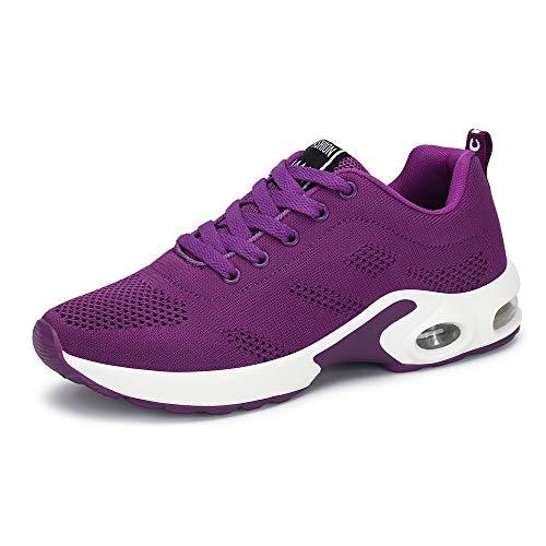 Zapatillas Deportivas de Mujer Air Cordones Zapatillas de Running Fitness Sneakers 4cm Negro Rojo Rosado Púrpura Púrpura 36