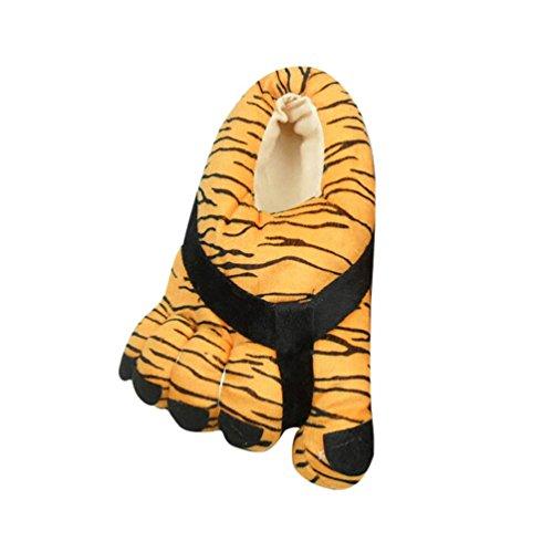 YOUJIA Hiver Pantoufle en Peluche Chaudes Rigolos Imprimé Chausson Gros Orteils Chaussures d'intérieur - Femme et Homme - Taille: 34-38 Tigre