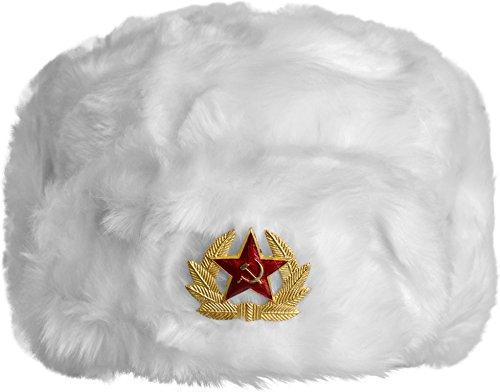 Russische Pelzmütze Uschanka Fellmütze Armee UDSSR Russland Tschapka Schapka Farbe Weiss Größe XL