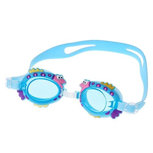 Manyo Kinder Cute Schwimmen Brille Wasserdicht Anti Nebel UV-Kids Swim Pool Schutzbrille, Lake Blue Fish, 13cm (5.12in) × 4.5cm (1.77in)