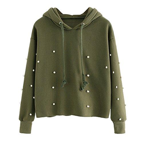 Lonshell Damen Pullover Übergröße Perle Bluse Shirt Hoodie Sweatshirt Tops W97 (L, Armee Grün) (Strickjacke Cashmere Leichte)