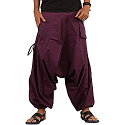 THS Mens Boho Hippie Wide Leg Cotton Baggy Harem Pants Trousers - Drop Pockets Style
