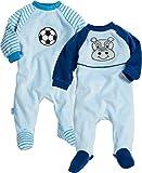 Playshoes Baby-Jungen Schlafoverall Nicki Fußball & Hippo 2er Pack Schlafstrampler Blau (Sortiert 999), Herstellergröße: 68
