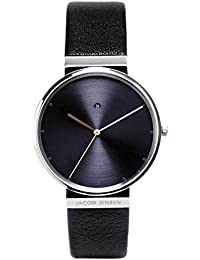 Jacob Jensen Herren-reloj analógico de pulsera de cuarzo cuero Dimensión Series Item No.: 841