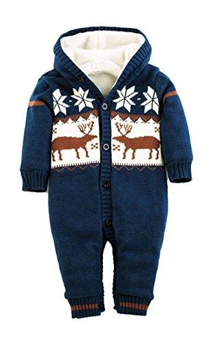 Molly Bambino Pagliaccetto Della Tuta A Natale Abbigliamento Da Bimbi Cardigan 12M Buio Blu