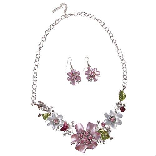 Braut Blumen Kristall Strass Halskette Ohrring Schmuck-Set Hochzeit Rosa