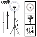 """Sasimo 12"""" Inches Big LED Ring Light for Photo and Video with 9 Feet Tripod Stand Compatible with Camera and Smartphones for Tiktok YouTube (Macro Ringlight Flashes)"""