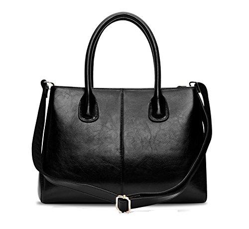 Greeniris Donne vera pelle Borse Attività commerciale Borsa a tracolla Totes Bags per donne nero