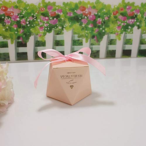 Flowow 50pcs forma diamante fenicottero bianco scatola portaconfetti scatolina bomboniera segnaposto portariso per matrimonio nozze anniversario addio al nubilato