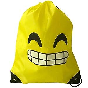 Limeo Emoji Drawstring Mochila Bolsos de Poliéster con Cordón Emoji Emoji Sports Bag Bolsa de Gimnasio Emoji Mochilas de…