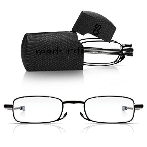 Read Optics faltbare Brille: Vollrand Lesehilfe in Stärke 1,5 Dioptrien für Herren/Damen. Mit Hartschalen-Etui, flexiblen Metall-Bügeln und Federscharnier. Hochwertige Gläser, schwarzer Rahmen