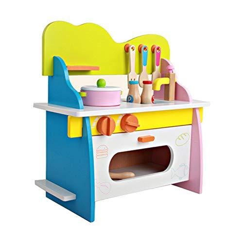 VIWIV Hölzerne Baby-Küche Set Spielzeug Kinder Spielen Haus Simulation Küche Utensilien,B (Küche-sets Spielen)
