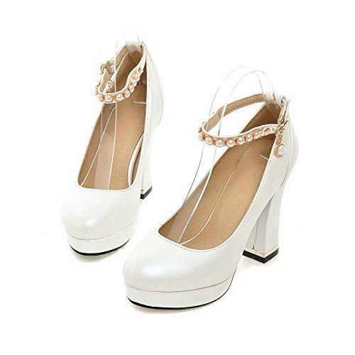 VogueZone009 Femme Rond Fermeture D'Orteil Boucle Pu Cuir Couleur Unie à Talon Haut Chaussures Légeres Blanc