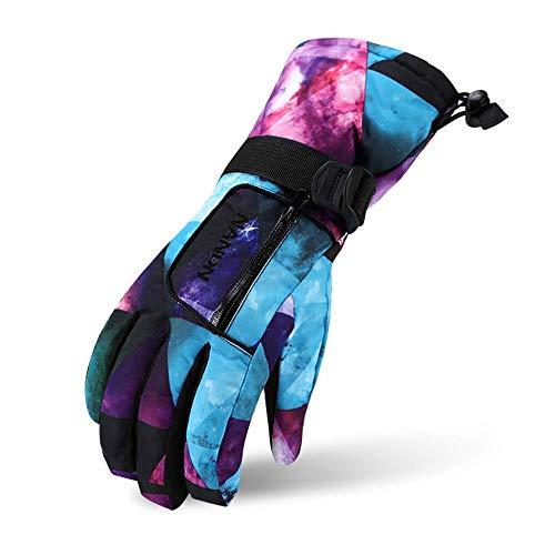 VERTAST Kinder Damen Herren Skihandschuhe Winddichte Wasserdichte Winter warme Handschuhe Fahrradhandschuhe, Blau sternenklar, S