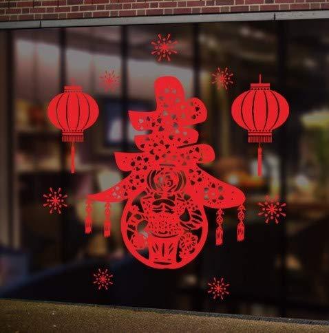 CMMO Feuerwerk Laterne Wandaufkleber Chinese New Year Dekoration Frühlingsfest Fensterglas Wandtattoos PVC Wohnzimmer Wandbild Kunst