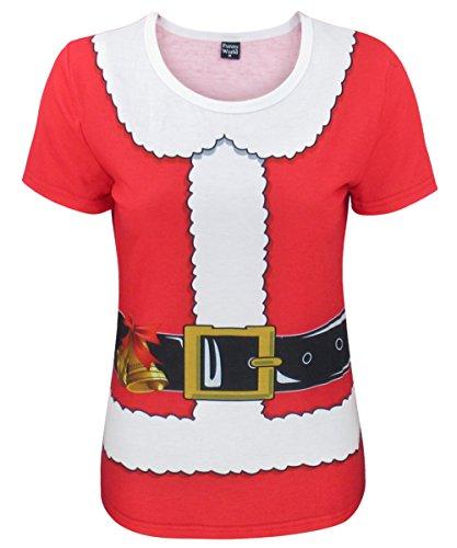 COSAVOROCK T-Shirts Costume da Babbo Natale de Donna (XL, Rosso)