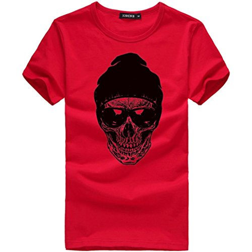 en T-Shirt Schädel Drucken Kurzarm Blouse Herren Slim Fit Baumwolle O-Ausschnitt Coole Strassenbande Pullover Trainings Sport Sweatshirt Plus Size Top (XXXL, Rot) (Plus Size-halloween-t-shirts)