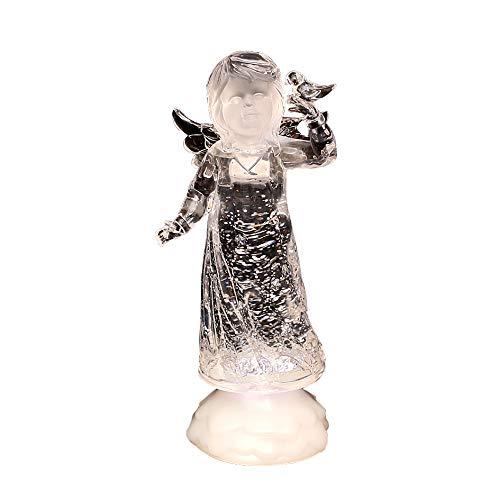 Dekohelden24 Wunderschöner LED Engel mit Glitterwirbel, ca. 23 cm