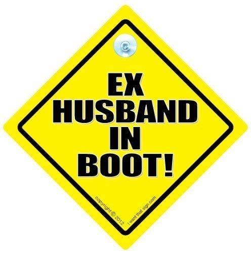 Ex Ehemann im Boot, Ex in Kofferraum, Ehemann im Boot, Ex-Mann im Auto, Boot, Witziges Schild, Aufkleber, Tailgater Auto-Baby an Bord Autoaufkleber, Zeichen, Auto Aufkleber Baby on Board
